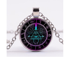 Gravity Falls Grotesque Town Bill Cipher Time Gemstone Necklace